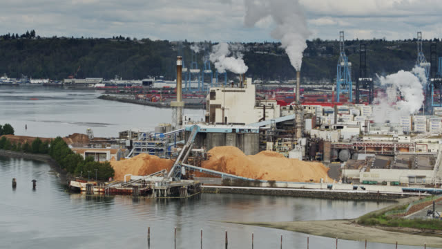 saw mill in tacoma - aerial shot - north pacific stock videos & royalty-free footage