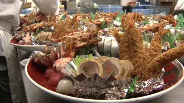 sawachi cuisine (festive new year's food items / osechi ryori) - gratin stock videos & royalty-free footage