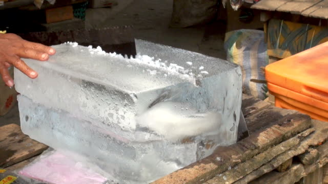 sawing block of ice - block shape stock videos & royalty-free footage