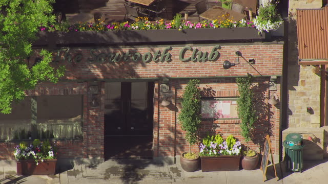 cu aerial zo sawtooth club at sun valley area / ketchum, idaho, united states - facade stock videos & royalty-free footage