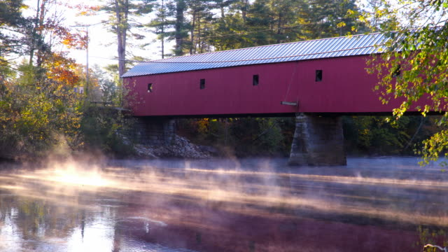 sawyers crossing covered bridge in new hampshire - new hampshire stock videos & royalty-free footage