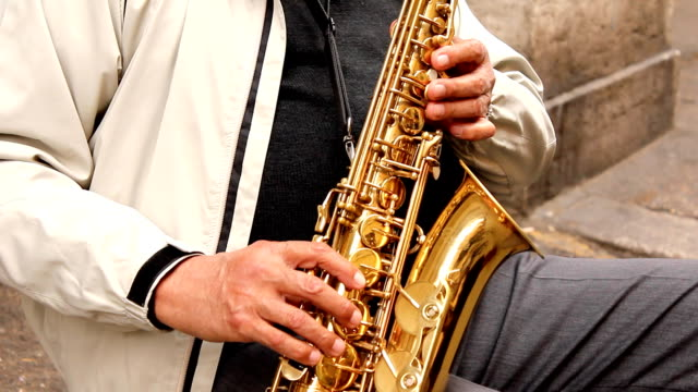 sax player (hd) - human finger stock videos and b-roll footage