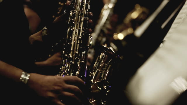 saxophone players in vintage look - music style stock videos and b-roll footage