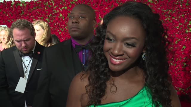interview saycon sengbloh talks about being the only liberian actress on broadway at 2016 tony awards red carpet at the beacon theatre on june 12... - saycon sengbloh stock videos and b-roll footage