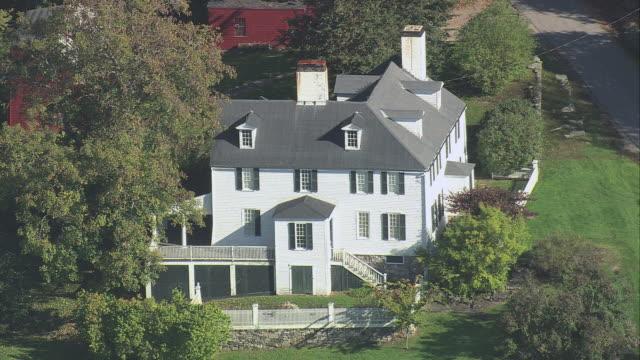 aerial sayward-wheeler house among fall trees / york harbor, maine - dormer stock videos and b-roll footage