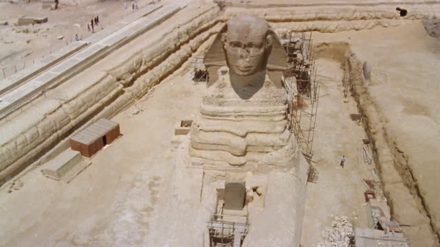 aerial ws scaffolding around great sphinx during conservation project / giza, egypt - 1992 stock videos & royalty-free footage