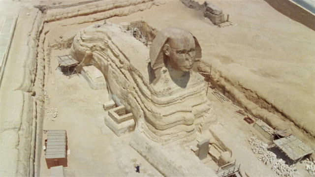 AERIAL WS Scaffolding around Great Sphinx during conservation project / Giza, Egypt