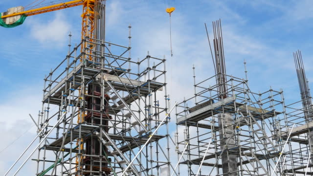 scaffolding at construction site - scaffolding stock videos & royalty-free footage