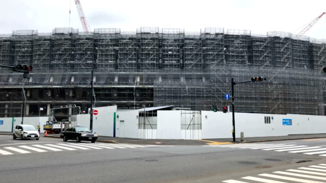 scaffolding covers the underconstruction new national stadium the main stadium for the upcoming tokyo 2020 olympic and paralympic games on may 8 2018... - summer olympic games stock videos and b-roll footage