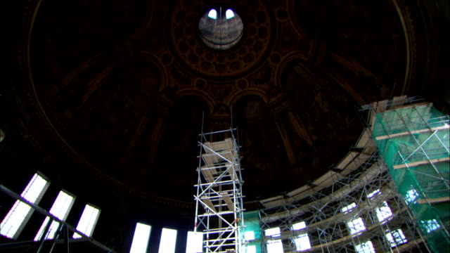 scaffolding extends into the dome of st. paul's cathedral in london, england. - architectural dome stock videos & royalty-free footage