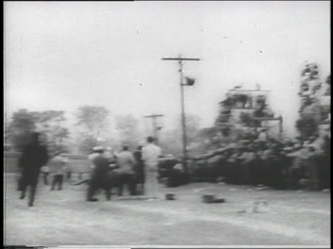 b/w 1935 scaffolding filled with spectators falls at indianapolis 500 / 2 die - 1935 stock videos & royalty-free footage