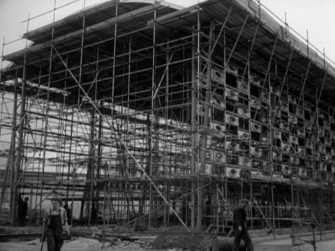scaffolding surrounds one of the exhibition spaces at the festival of britain on the south bank of the thames - festival of britain stock videos & royalty-free footage
