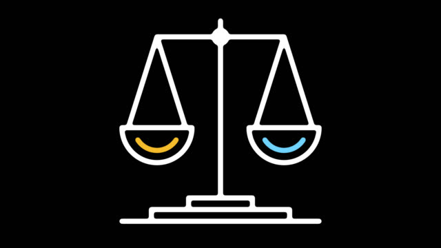 scale of justice line icon animation with alpha - weight scale stock videos & royalty-free footage