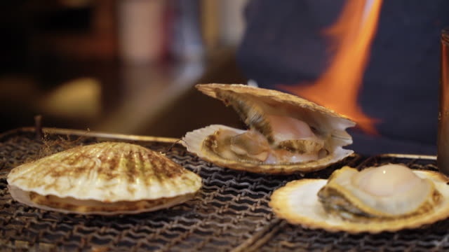 scallop grilled on stove. - seashell stock videos & royalty-free footage