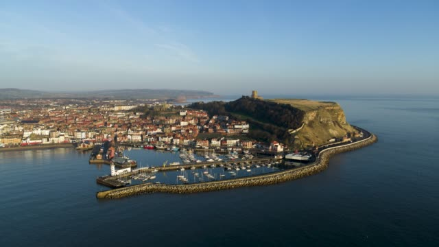 scarborough harbour & castle, south bay, scarborough - cape stock videos & royalty-free footage