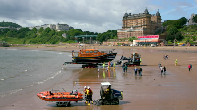 Scarborough Lifeboat Launch Training South Beach  Scarborough