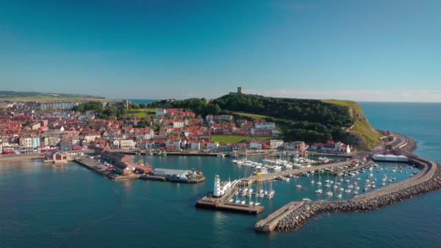 Scarbourgh Castle And Harbour Scarborough South Bay  North Yorkshire