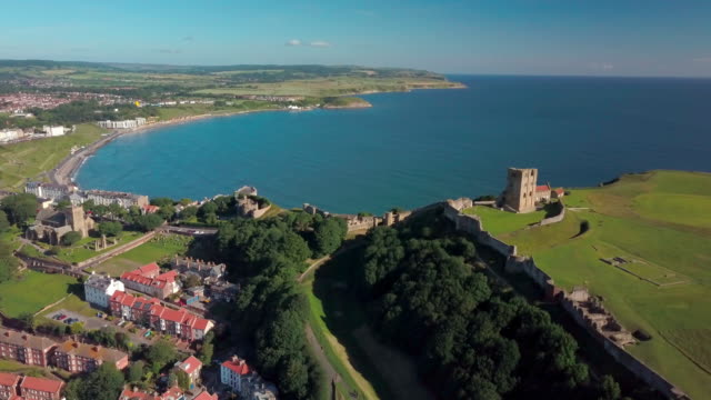 Scarbourgh Castle And North Bay Scarborough South Bay  North Yorkshire