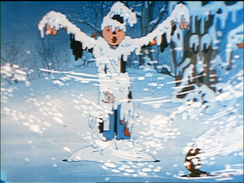 animated scarecrow turning into a snowman in snowstorm as baby bear watches / sound - snowman stock videos & royalty-free footage