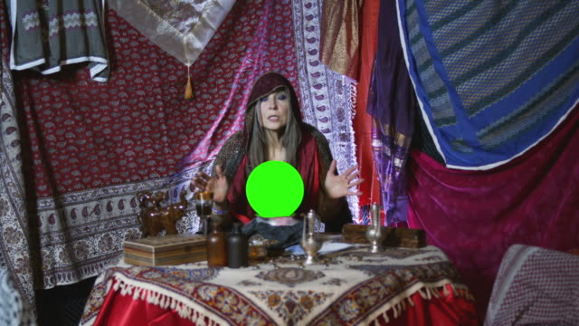 scared gypsy fortune teller - crystal ball stock videos & royalty-free footage