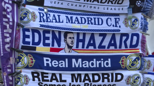 scarf with the figure of belgian eden hazaqrd from chelsea fc before his presentation as a new real madrid's football player at santiago bernabeu... - chelsea f.c stock videos & royalty-free footage