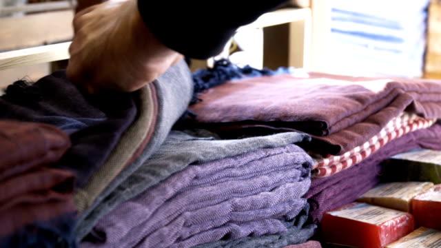 scarfs on stand in bazaar - silk stock videos & royalty-free footage