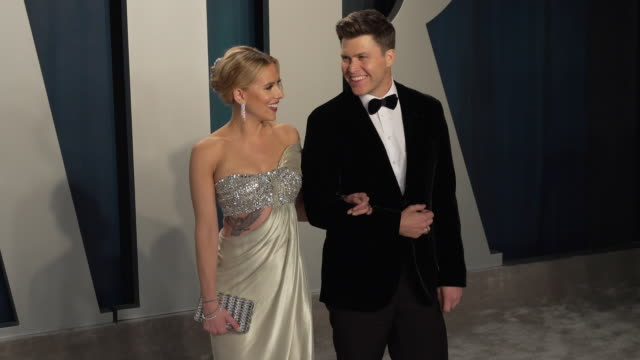 scarlett johansson and colin jost at 2020 vanity fair oscar party hosted by radhika jones at wallis annenberg center for the performing arts on... - oscar party stock videos & royalty-free footage
