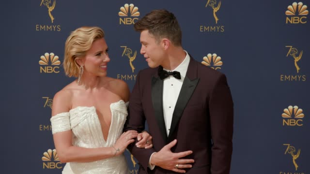scarlett johansson and colin jost at the 70th emmy awards arrivals at microsoft theater on september 17 2018 in los angeles california - scarlett johansson stock videos and b-roll footage