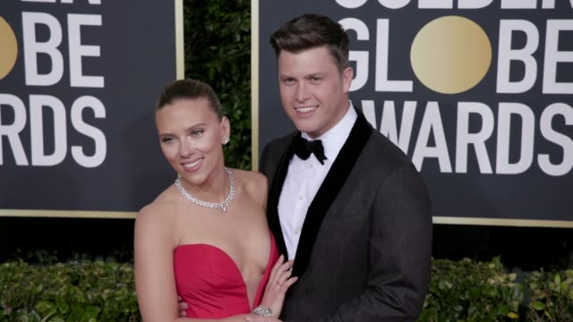 scarlett johansson and colin jost at the 77th annual golden globe awards at the beverly hilton hotel on january 05, 2020 in beverly hills, california. - golden globe awards stock videos & royalty-free footage