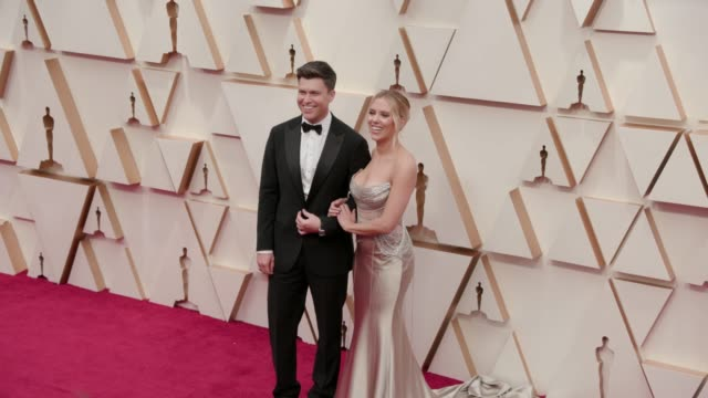 scarlett johansson and colin jost at the 92nd annual academy awards at dolby theatre on february 09 2020 in hollywood california - academy awards stock videos & royalty-free footage