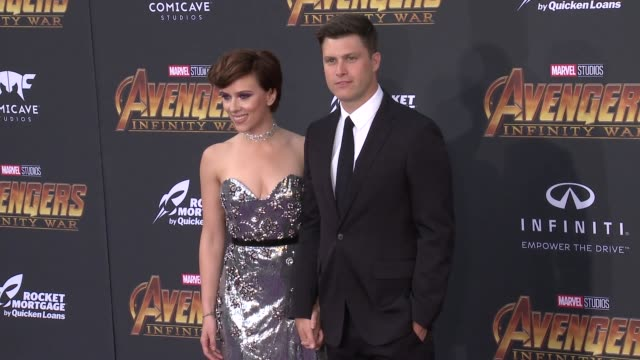 scarlett johansson and colin jost at the avengers infinity war world premiere on april 23 2018 in hollywood california - scarlett johansson stock videos and b-roll footage