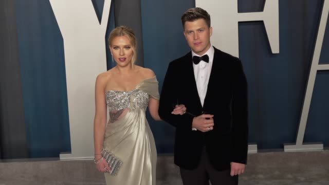 scarlett johansson and colin jost at vanity fair oscar party at wallis annenberg center for the performing arts on february 09, 2020 in beverly... - vanity fair stock videos & royalty-free footage