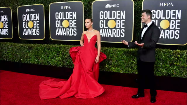 vidéos et rushes de scarlett johansson and colin jost attend the 77th annual golden globe awards at the beverly hilton hotel on january 05, 2020 in beverly hills,... - the beverly hilton hotel