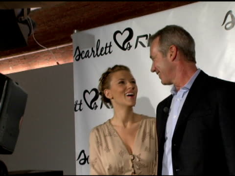 scarlett johansson and paul harrington/ reebok president and ceo at the press conference to celebrate new collaboration hosted by scarlett johansson... - scarlett johansson stock videos and b-roll footage