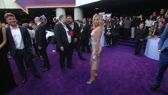 """scarlett johansson at audi at the world premiere of """"avengers endgame"""" in los angeles ca - scarlett johansson stock videos and b-roll footage"""