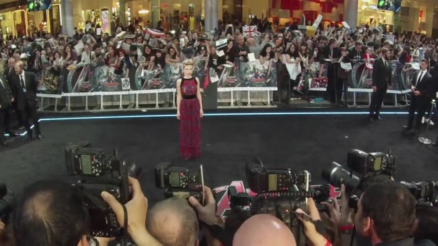 scarlett johansson at 'avengers the age of ultron' premiere at westfield on april 21 2015 in london england - scarlett johansson stock videos and b-roll footage