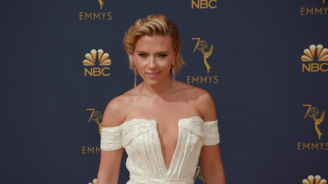 scarlett johansson at the 70th emmy awards arrivals at microsoft theater on september 17 2018 in los angeles california - scarlett johansson stock videos and b-roll footage