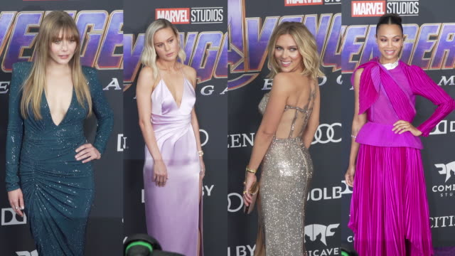 scarlett johansson brie larson zoe saldana and elizabeth olsen at the world premiere of marvel studios' 'avengers endgame' at los angeles convention... - arts culture and entertainment stock videos & royalty-free footage