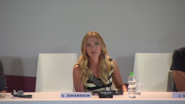 scarlett johansson on acting in a science-fiction film at 'under the skin' press conference on september 03, 2013 in venice, italy. - science fiction film stock videos & royalty-free footage