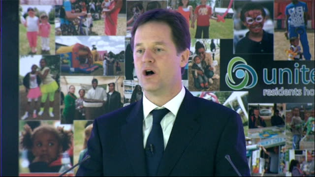 nick clegg speech; clegg speech sot **please note - some picture drop-out from here** - in sport, as in many worlds, we have moved forward. but in so... - only young men stock videos & royalty-free footage