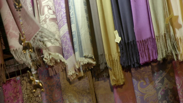 scarves, khan el-khalili, cairo, egypt - egypt stock videos & royalty-free footage