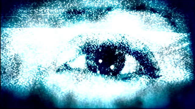scary eye in tv static. hd - spooky stock videos & royalty-free footage