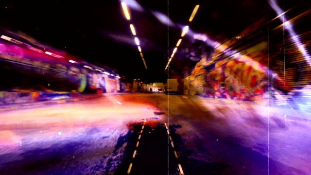 scary grunge graffiti tunnel. hd - surrounding wall stock videos & royalty-free footage