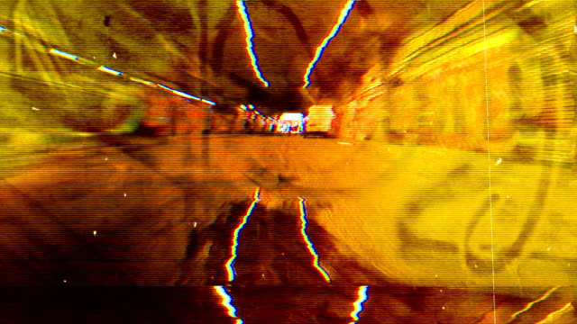 scary grunge graffiti-tunnel. hd - graffito stock-videos und b-roll-filmmaterial