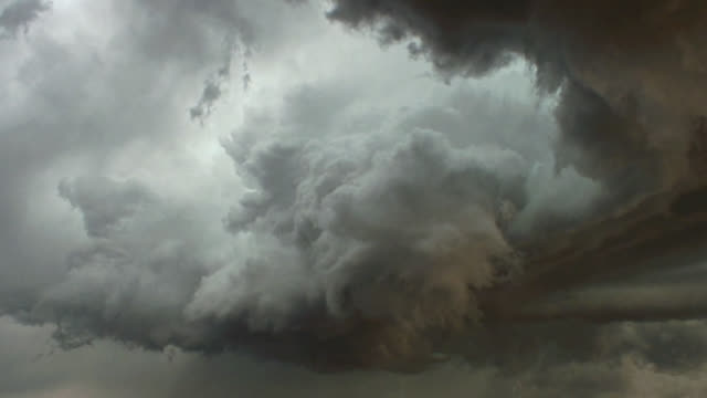 Scary supercell thunderstorm filling the sky.