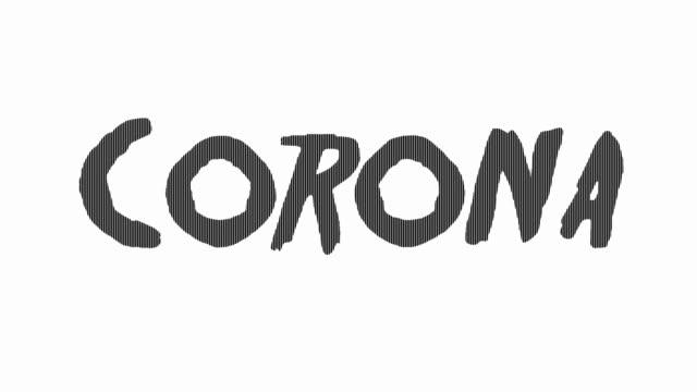 corona di testo spaventosa - vettore della malattia video stock e b–roll