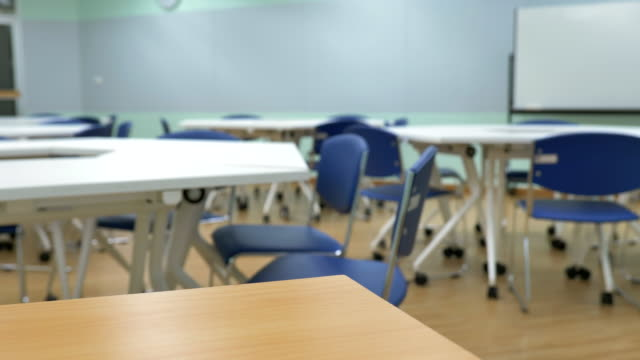 scene dolly shot of interior empty classroom in university, back to school - no people stock videos & royalty-free footage
