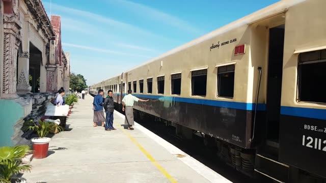 scene from bagan myanmar south east asia train journey - myanmar stock videos & royalty-free footage