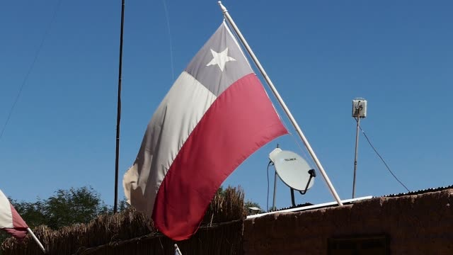 scene from chile south america slow zoom motion close up sunny day national flag flying in - 旗棒点の映像素材/bロール