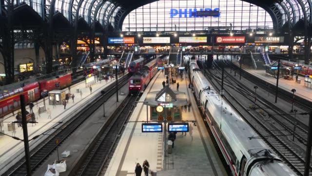 scene from germany europe of train station - bahnhof stock-videos und b-roll-filmmaterial